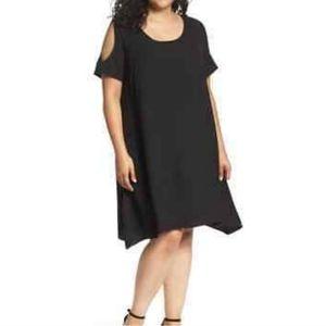 Sejour 22W / 2XL Cold Shoulder Black Swing Dress